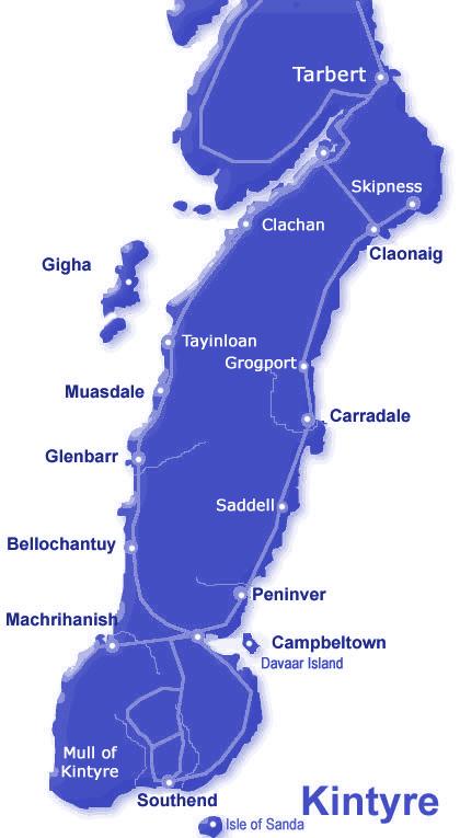 Campbeltown Scotland Map.Accommodation In Kintyre Campbeltown Tarbert Machrihanish Gigha